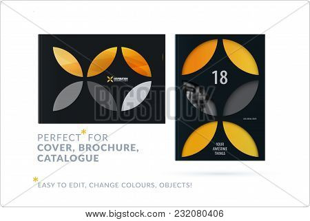 Business Set Of Design Brochure, Abstract Annual Report, Horizontal Cover Flyer In A4 With Yellow Co