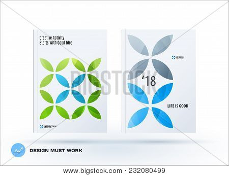 Business Set Of Design Brochure, Abstract Annual Report, Horizontal Cover Flyer In A4 With Turquoise