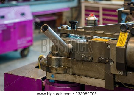 Bending Machine With Turned Pipe In Operation