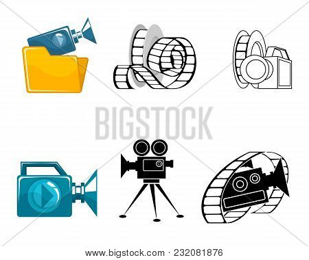 Vector Illustration Of Six Icons For Video Clips