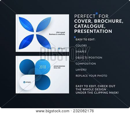 Presentation. Abstract Vector Set Of Modern Horizontal Templates With Colourful Blue Circle Segments