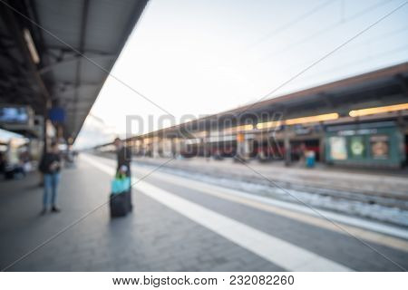 Blurred Image Bokeh Of The Platform At Verona Train Station In Italy