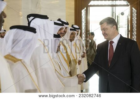 Doha, Qatar - 20 Mar 2018: President Of Ukraine Petro Poroshenko During The Official Visit To The St
