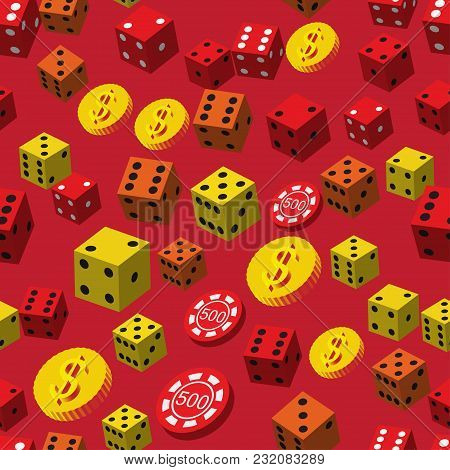 Poker Chips Dice And Coins Seamless Pattern On Red Background