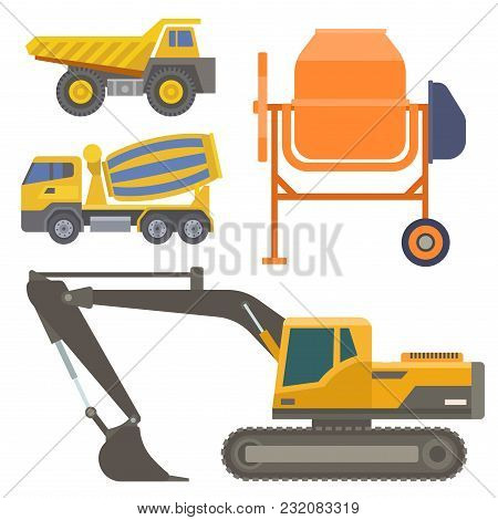 Construction Delivery Truck Vector Transportation Vehicle Construct And Road Trucking Machine Equipm