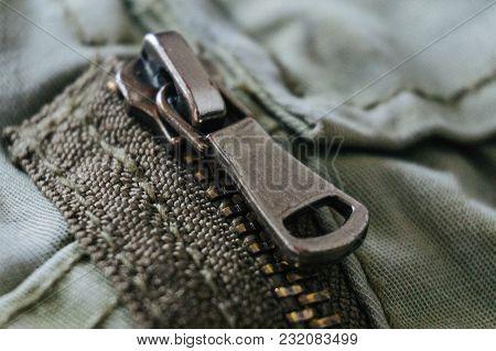 Zipper Pants. Detail Zip. Close Up Zipper Pant. Photo Stock