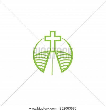 Church Logotype In Circle. Baptist Cross In Mountain Logo