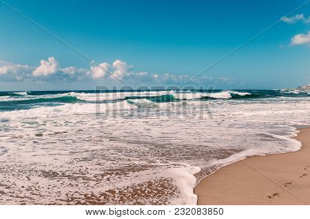Paradise Ocean Beach, Blue Sky, White Clouds, Yellow Sand, Turquoise Waves, Panorama View, With Foot
