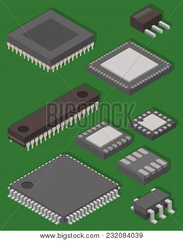 Microchip Computer Vector Isometric Chip Technology Processor Circuit And Motherboard Information Sy