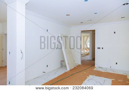 White Apartment Interior, View Of The Rooms New Home Construction Interior Drywall And Finish Detail