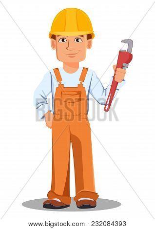Handsome Builder In Uniform, Cartoon Character. Professional Construction Worker. Smiling Repairman