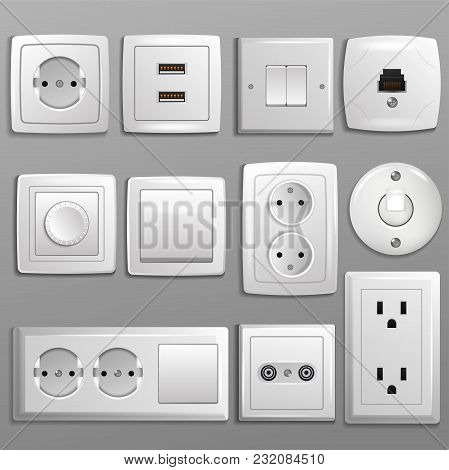 Socket And Switch Vector Electrical Outlet For Electric Plugs And Electricity Illustration Set Of Di