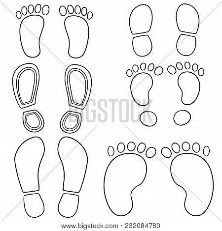 Vector Set Of Footprints And Shoeprints Hand Drawn Cartoon