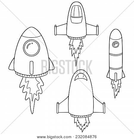 Vector Set Of Space Ship Hand Drawn Cartoon