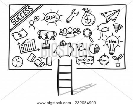 Hand Drawn Doodle Is Components Of The Way To Success. Vector Illustration.