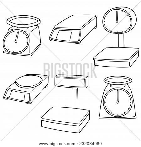 Vector Set Of Weighing Machine Hand Drawn Cartoon