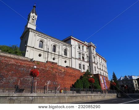 Bielsko-biala, Poland Europe On August 2017: Sulkowski Castle In Historical City Center With Wall Of