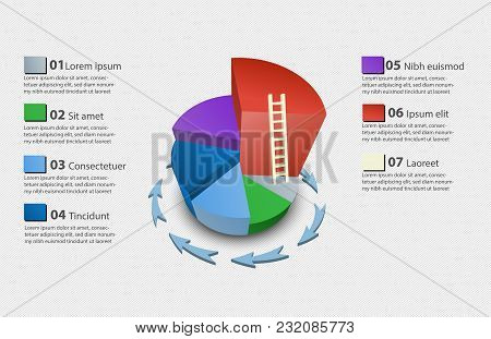 Creative Vector Colorful 3d Pie Chart With A Ladder From Lowest To Highest Can Be Used For Work Flow