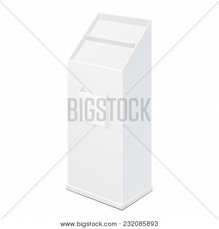 White Empty POS POI Cardboard Floor Display Rack For Supermarket Blank Empty Displays With Shelves Products On White Background Isolated. Ready For Your Design. Product Packing. Vector EFPS10 poster
