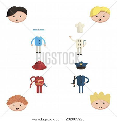 Set Of Professions Character Constructor With Doctor, Fireman, Cook And Policeman Cartoon Style Vect