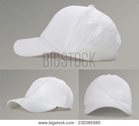 Modern White Baseball Cap On Gray Background