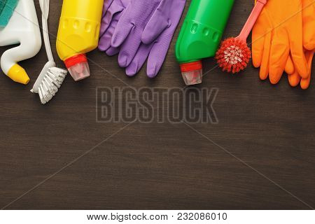 Spring Cleaning Background. Assortment Of Colorful Spray Detergents, Sponges, Rags And Other Supplie