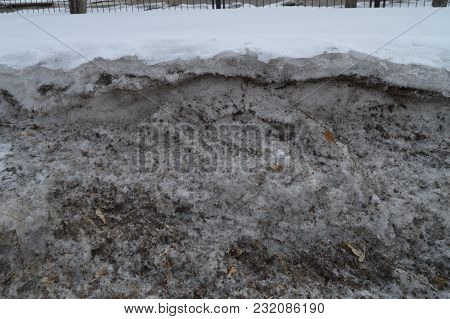 Dirty Loose Spring Snow, White Snow Melts, Spring Background.