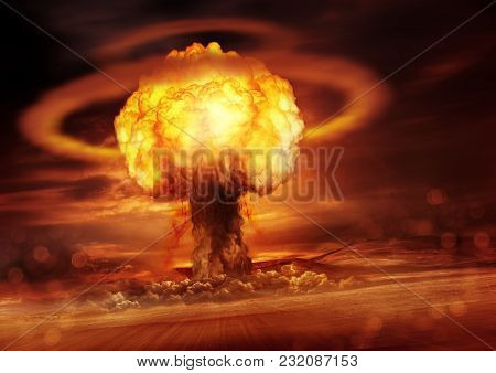A Nuclear Bomb Explosion Causing Shock Waves. Mixed Media Illustration.