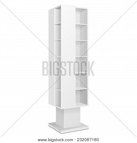 White Blank Quadrilateral Empty Showcase Displays With Retail Shelves Products On White Background I