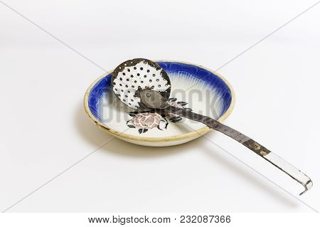 Old Kitchenware, Font And Skimmer, On A White Background