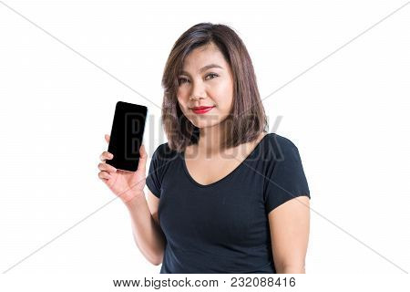 Young Asian Woman Presenting Blank Scree Mobile Phone, For Application Advertisement Or Commercial P