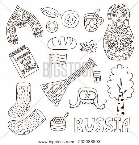 Russian Doodle Icons Line Black And White Vector Set