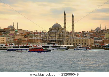 Istanbul, Turkey - March 28, 2012: View Of New Mosque From Bosphorus.