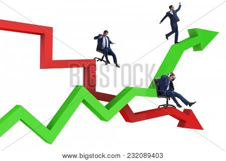 Businessman in crisis and recovery concept
