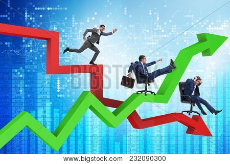 Growth and decline concept with businessmen
