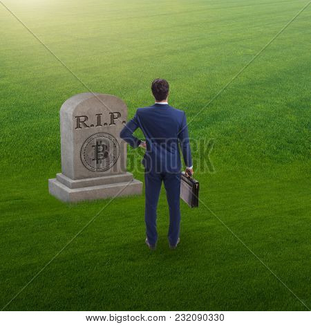 Businessman mourning the demise and death of bitcoin