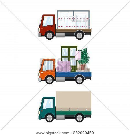 Set Of Small Cargo Trucks, Car Transports Windows, Orange Mini Lorry With Furniture, Green Closed Tr