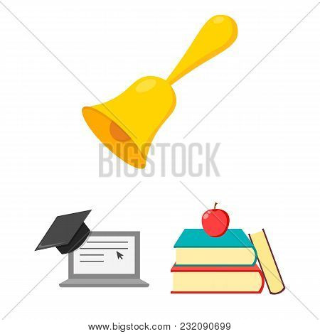 School And Education Cartoon Icons In Set Collection For Design.college, Equipment And Accessories V