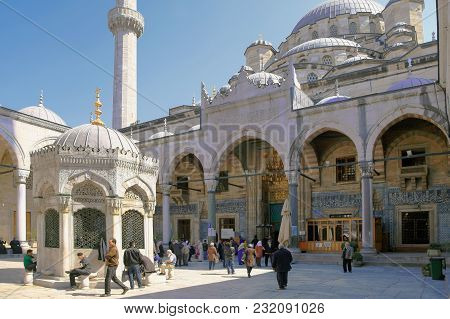 Istanbul, Turkey - March 29, 2012: Сourtyard Of New Mosque.