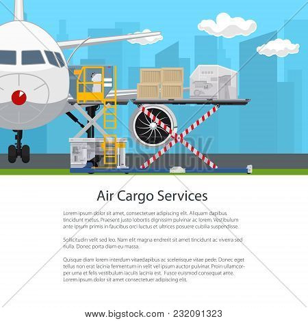 Transportation And Air Cargo Services , Airplane With Autoloader On The Background Of The City , Unl