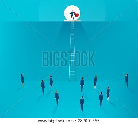 Leadership Concept. Businessman Superhero Standing On A Mountain Hill, On The Background Of The Moon