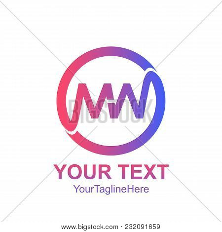 Initial Letter Mw Logo Template Colorfull Circle Design For Business And Company Identity