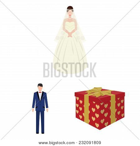 Wedding And Attributes Cartoon Icons In Set Collection For Design.newlyweds And Accessories Vector S