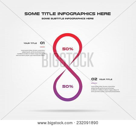 Infinity Chart Of Percentage Infographics. Element Of Graph, Diagram With 2 Options - Parts, Process