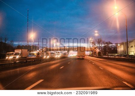 Moscow region, Russia - March, 10, 2018: night subway in Moscow region, Russia. Veiw from a car cab