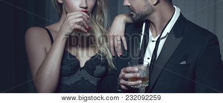 Rich Man With Lover With Drink In Night Club, Cinematic Style