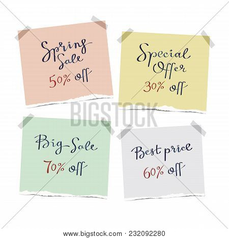 Set Of Hand Drown Sale Lettering Banners On The Pieces Of Torn Paper. Vector Desing For Tags, Discou