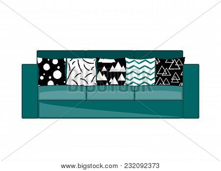 Cyan Fabric Three-seat Modern Sofa With Modern Ornament Black And White Pillows. Vector Illustration