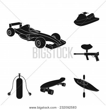 Extreme Sport Black Icons In Set Collection For Design.different Kinds Of Sports Vector Symbol Stock