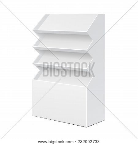 White Cardboard Floor Display Rack For Supermarket Blank Empty Displays With Shelves Products On White Background Isolated. Ready For Your Design. Product Packing. Vector EPS10 poster